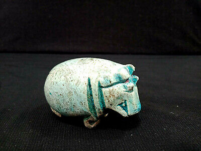 Unique Hippo Egyptian Antique Glazed hippopotamus Amulet Sacred Animal Figurine