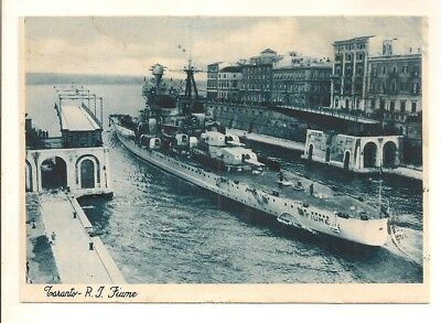 "WWII: ITALIAN CRUISER ""FIUME"" POSTCARD. PASSED BY CENSOR. US SAILOR TO US c1943"