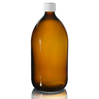 Amber Glass Bottle 1000ml with 28 mm Screw Caps & Ring Pharmacy Medical 1L