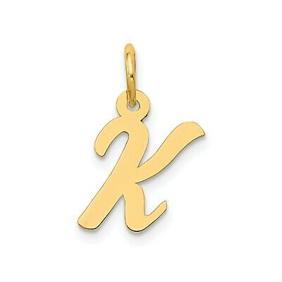 14K Yellow Gold Small Script Initial Letter L Charm Jewerly 17mm x 8mm