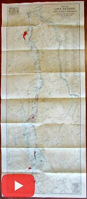 Lake George New York 1948 large state issued map 119 islands hiking trails camps