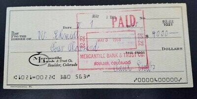 1968 Check Written & Signed By World Renowned Mathematician, Paul Erdos  MINT!
