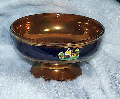 Beautiful Antique English Azure And Copper Hand Enameled Pedestal Glass Lustre B