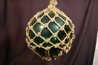 Vintage Green Antique Large Roped Japanese Glass Fishing Buoy Ball Float w Rope