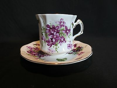 Vintage Hammersley VICTORIAN VIOLETS Fluted Flat Cup & Saucer 3 Inch