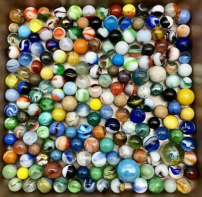 187 Antique Vintage Marbles Akro Peltier Shooter Clay & More *old General Store*
