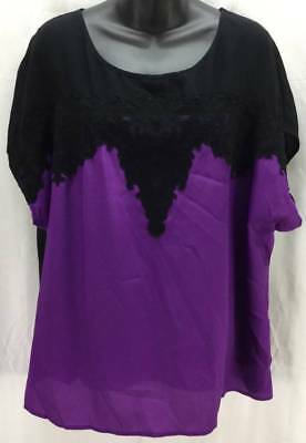 Lane Bryant Blouse Top 18 20 Purple Black Short Sleeve Women Scoop Women 3011