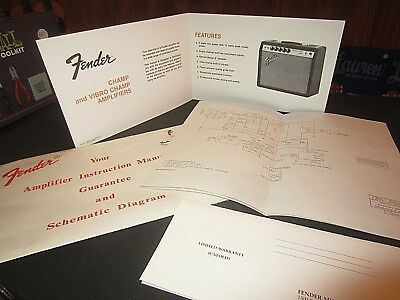 VINTAGE CIRCA 1973 Original Fender Champ / Vibro Champ Schematic & Owners  Manual