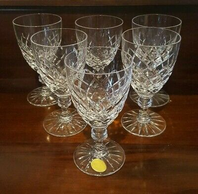 6 Vintage Bohemia White / Red Wine Glasses Diamond Cut 6 Ounce 1950's / 60's VGC