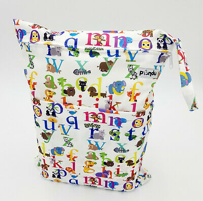 Double Zip Wet Bag Waterproof Baby Cloth Diaper Nappy Dry Bag Swimmer Animal ABC