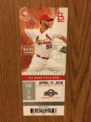 St Louis Cardinals 4/11/18 vs. Milwaukee Brewers, Tommy Pham Mint Ticket