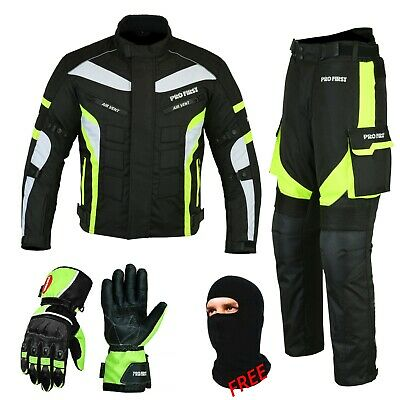 Mens Motorbike Motorcycle Racing Cordura Suit Leather Matching Gloves