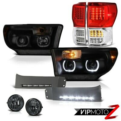 07-13 Toyota Tundra SR5 Red Clear Tail Lamps Headlamps Bumper DRL Fog Halo Rim