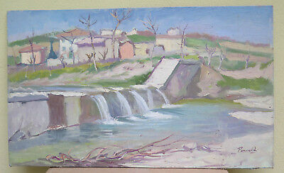 Painting Antique Landscape Oil On Board Original Signed View Countryside