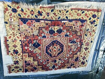 Anatolian Rug Carpet Fragment Antique mounted Antiker Teppich Anatolien ca. 1850