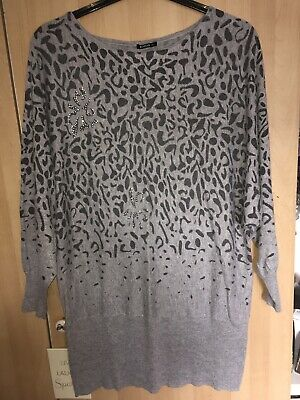 1afae75c1b6 Grey And Black Size 22 Long Batwing Jumper dress With Diamontees