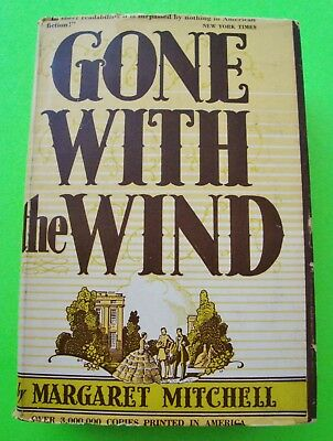 GONE WITH THE WIND by Margaret Mitchell HARDCOVER + DJ 1947 Edition CIVIL WAR