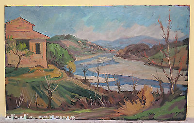 PAINTING ANTIQUE OIL ON BOARD LANDSCAPE WITH RIVER SIGNED STYLE IMPRESSIONIST p2