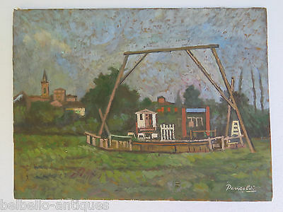 PAINTING ANTIQUE painting OIL ON BOARD LANDSCAPE COUNTRYSIDE ORIGINAL SIGNED p2