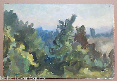 LANDSCAPE WITH TREES PAINTINGS VINTAGE PAINTING OIL ON BOARD SIGNED ORIGINAL p3