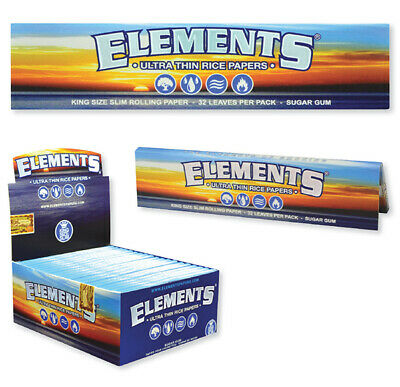 Elements Rolling Papers 2 PACKS Ultra Thin Rice King Size Slim *USA SHIPPED*