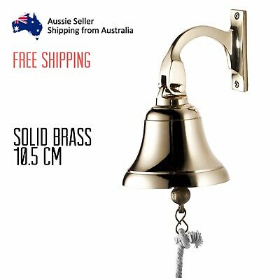 Solid Brass Traditional Ships Bell With Rope 10.5cm Door Wall  Playground