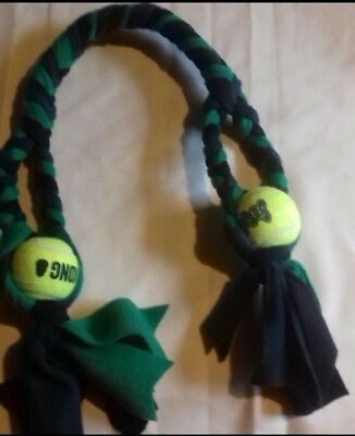 Double kong ball tuggy toy with two handles black you choose 2 fleece colours