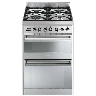 SMEG SY62MX8 Symphony 60cm Dual Fuel Cooker Stainless Steel - Silver RRP £1149