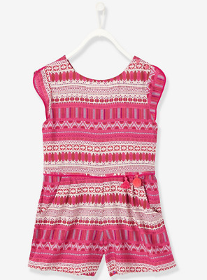 Vertbaudet Girls Short Printed Playsuit - Printed Pink BNWT Size 10 Years /138cm