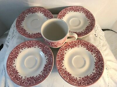 Staffordshire Engraving 17th Century Cup Saucers (Red floral) set of 4, W 1 Cup