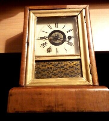 Antique Wooden Veneered Case Clock With Key For Restoration Metal Face