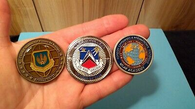 U.S. challenge coins Air Force Intelligence, Air War College, USAF Academy
