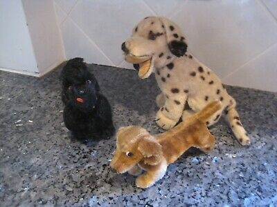 Collection of 3 Steiff Dogs: Poodle, Dalmatian, and Doxie