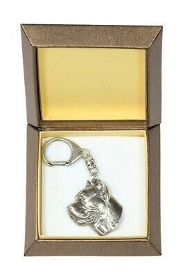 Cane Corso Keychain in a Box, Silver Plated Key Ring UK 2714
