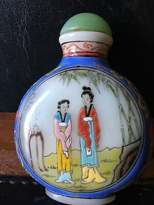 Tabatiere Ancienne Chine Verre Blanc Emaillé Signée Chinese Glass Enamels