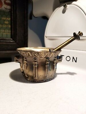 Vintage Brass Or Bronze Mortar And Pestle Serpent Heads Over 2 Pounds