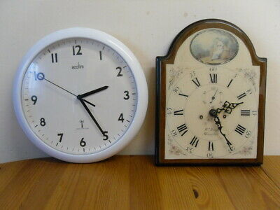 Radio Controlled Acctim White Wall Clock & Ceramic/Wood Vintage style wall clock