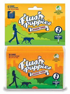 Flush Puppies Waste Doodie Bags Flushable Wallet Style for Dogs 60 Bags