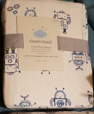 Fitted Crib Sheet- Cloud Island™White with Spacemen New in Package 100% Cotton