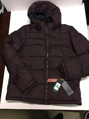 150d666818af TOMMY HILFIGER MEN S CLASSIC HOODED PUFFER JACKET STYLE 156AN122 Burgundy  Sz L