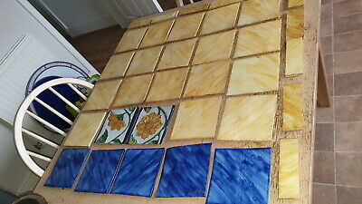 Vintage Handmade Terrocotta Tiles/ Handpainted Blue,Yellow Flowers Etc 33 Pieces