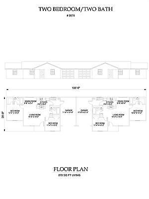 Two bedroom two bath duplex Apartment 878 sq ft per unit plan with garage