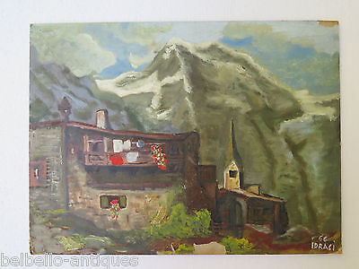 PAINTING MODERN OIL ON BOARD painting LANDSCAPE ALPS ALPEN MOUNTAINS SIGNED p2