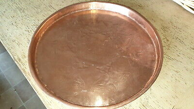 Antique Joseph Sankey Copper Grapevine Arts Nouveau Copper Round Tray