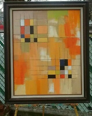 Mid Century Modern Style Abstract Painting  Brutalist Vintage signed