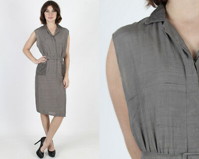Vintage 50s Grey 1940s Dress Rockabilly Pinup Cocktail Party Wiggle Silk Mini M
