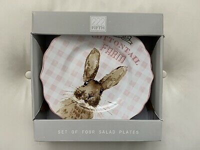 (4)NIB 222 Fifth Cottontail Farm Easter Bunny Rabbit Salad Lunch Plates Set Pink