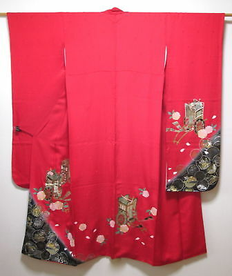 Vintage Japanese Furisode/Kimono/Robe Cherry Red Silk 'Royal Carriages' M/L GIFT