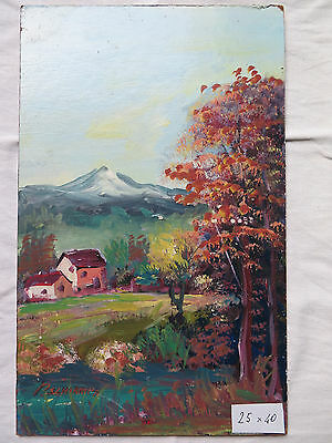 Painting Antique Landscape Countryside In Autumn Painting Oil On Board Signed M