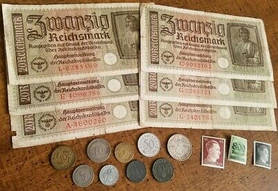 WW2 GERMAN SILVER & RARE BANKNOTES/COINS  - 19pc LOT - Vintage WWII Collection!